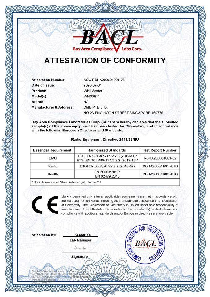 CE Certificate WIDI Master
